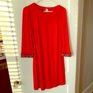 Christmas party dress red with beads size 6